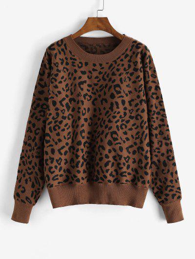 Lose Dolman Ärmel Leopard Pullover - Roter Schmutz L
