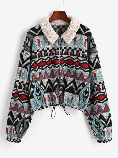 ZAFUL Faux Fur Insert Geometry Print Jacket - Black L