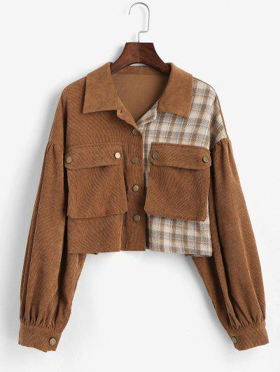 ZAFUL Corduroy Plaid Short Cargo Jacket - Red Dirt M
