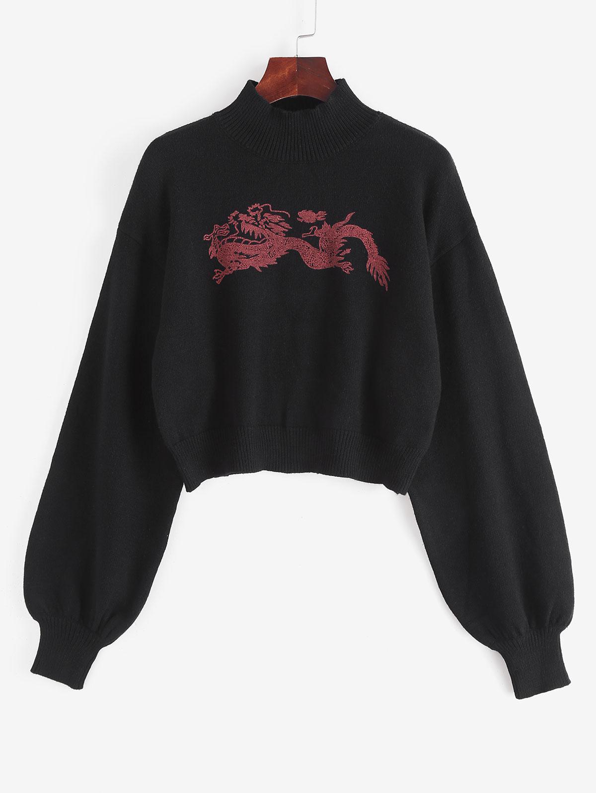 Mock Neck Oriental Dragon Graphic Sweater