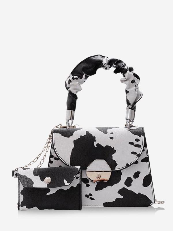 2Pcs Cow Print Chain Crossbody Bag Set