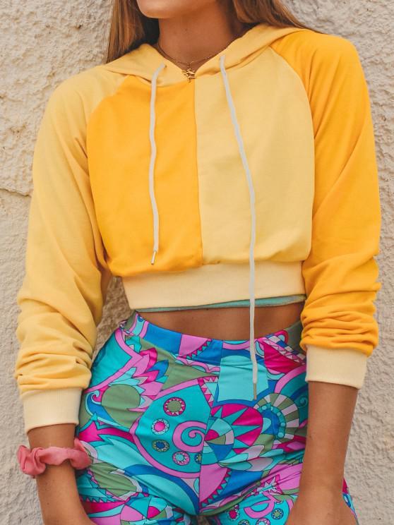 womens ZAFUL Bicolor Two Tone Crop Hoodie - YELLOW XL