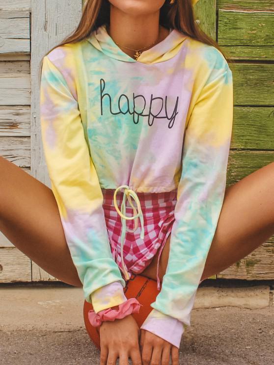 Tie Dye Drawstring Pullover Crop Hoodie - اخضر فاتح XL