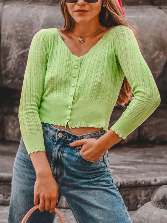 Pointelle Knit Cardigan - اخضر فاتح حجم واحد