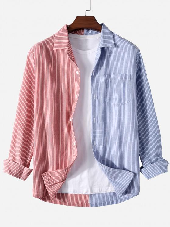 women's Contrast Striped Print Button Up Pocket Shirt - RED 2XL