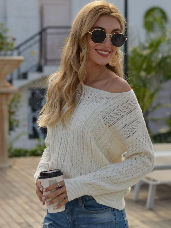 Cable Knit Pointelle Knit Ribbed Trim Sweater - أبيض حجم واحد