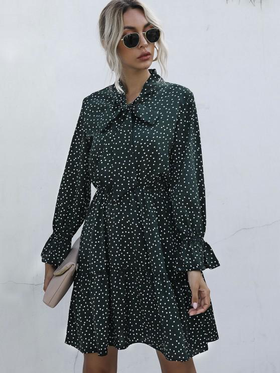 latest Polka Dot Bow Tie A Line Dress - DEEP GREEN M