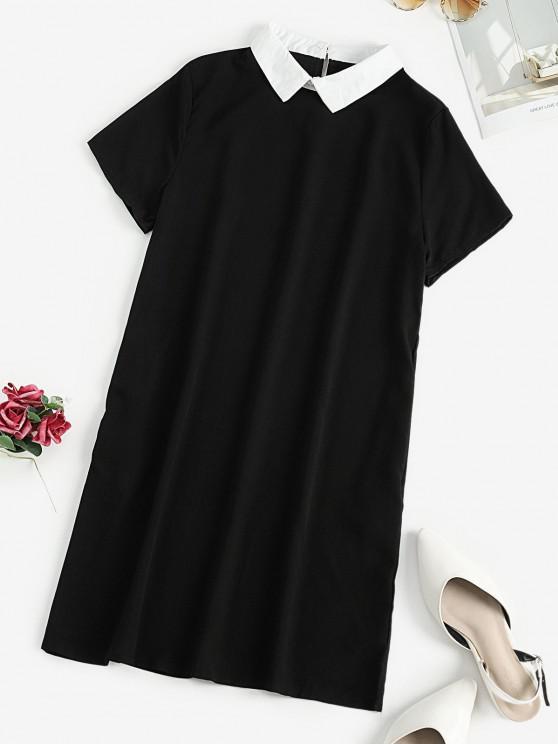 fancy Flat Collar Keyhole Back Shift Dress - BLACK M
