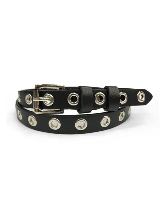 Grommet Thin Leather Belt - أسود