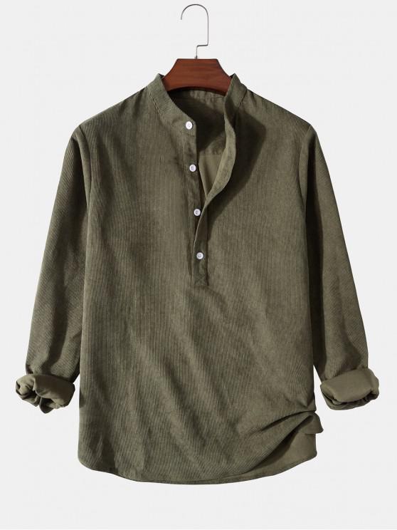 women Half Button Ribbed Corduroy Shirt - GREEN L