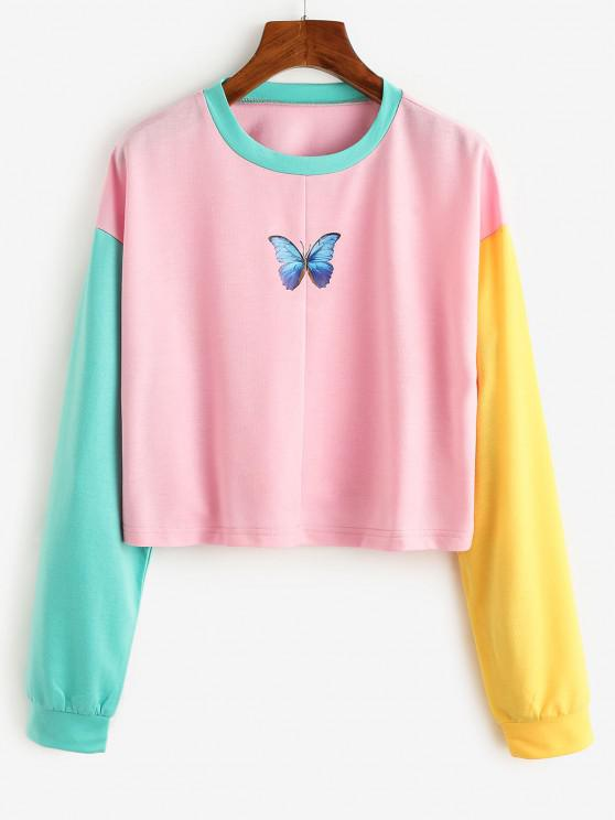 best Color Blocking Contrast Butterfly Print Sweatshirt - LIGHT PINK S