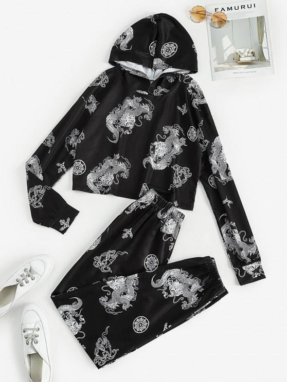 lady Dragon Print Oriental Two Piece Sweatpants Set - WHITE S