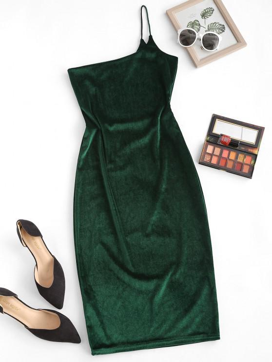 lady One Shoulder Velvet Bodycon Dress - HAZEL GREEN L