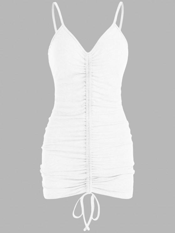 outfit ZAFUL Ribbed Cinched Bodycon Dress - WHITE L