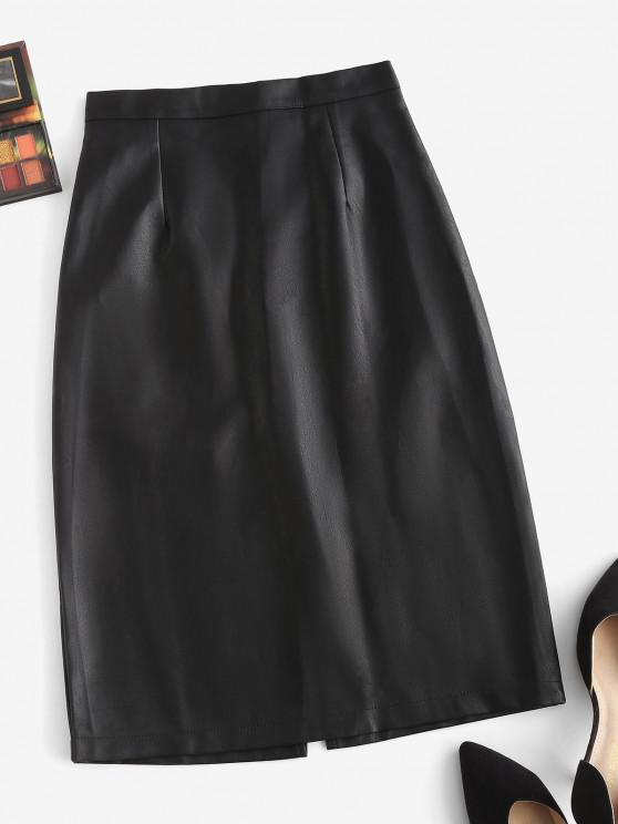 chic Back Zipper Slit PU Leather Skirt - BLACK XL