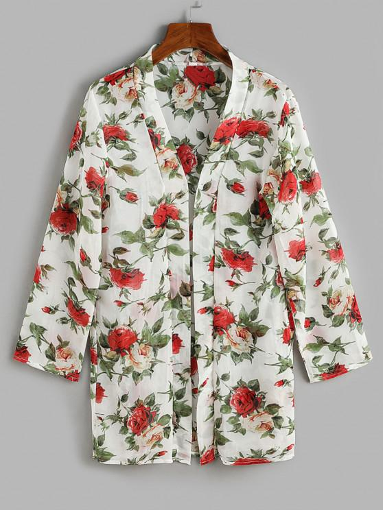 Flower Print Open Front Cover Up Top - متعدد مقاس واحد