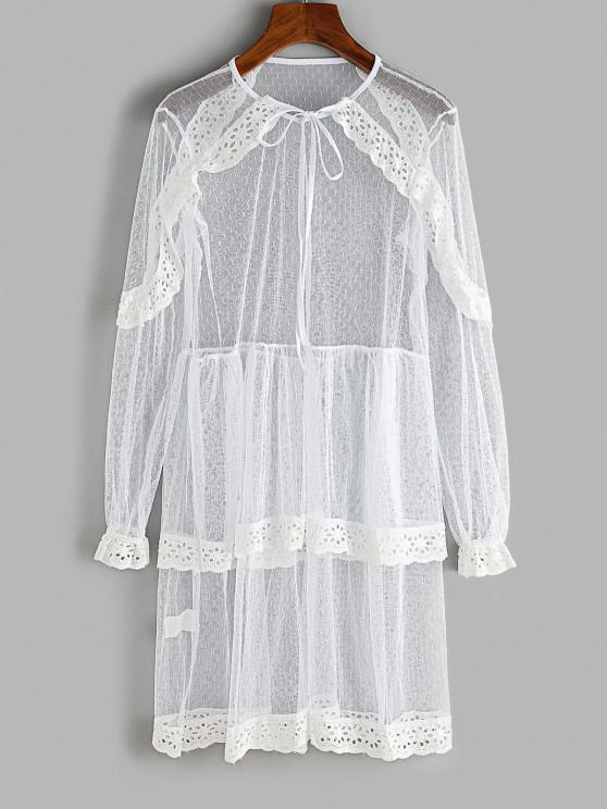 women Lace Eyelet Ruffle Layered Beach Dress - WHITE S