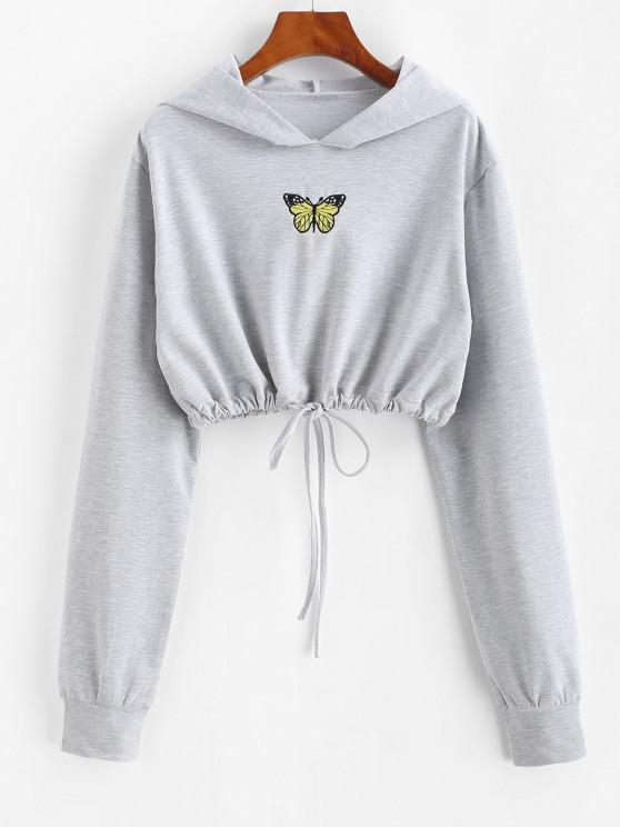 Marled Butterfly Embroidered Drawstring Hem Cropped Hoodie - اللون الرمادي L