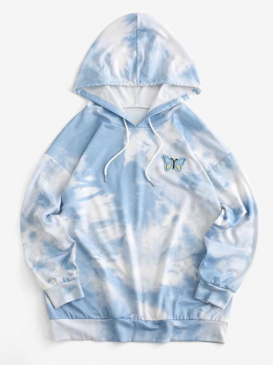 women Cloud Tie Dye Butterfly Embroidered Drawstring Drop Shoulder Hoodie - LIGHT BLUE S