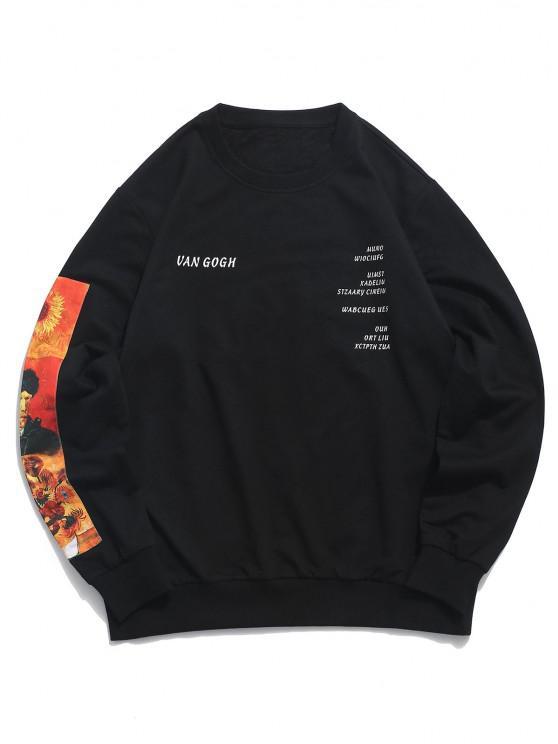 ZAFUL Van Gogh Sunflower Paint Graphic Sweatshirt - أسود M