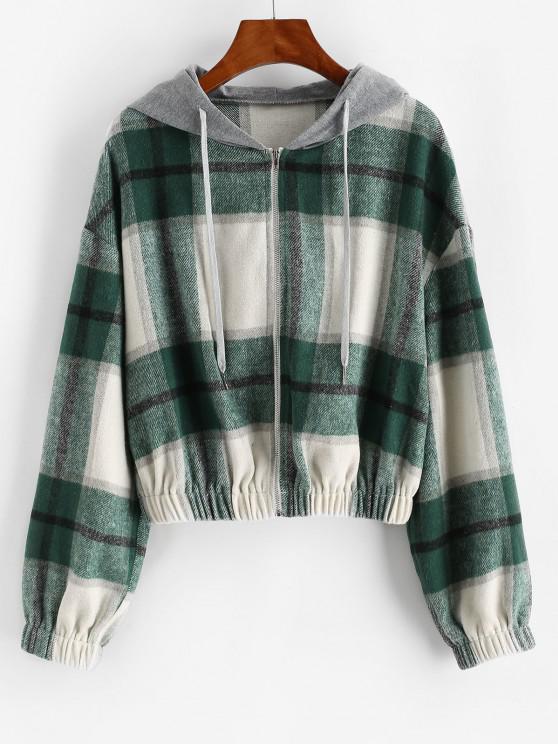 latest ZAFUL Hooded Plaid Combo Wool Blend Jacket - SEA TURTLE GREEN L