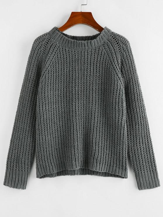 women ZAFUL Raglan Sleeve Chenille Chunky Knit Sweater - GRAY S