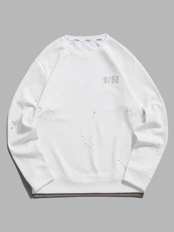 Paint Splatter Letter Patch Double Hem Sweatshirt - أبيض M