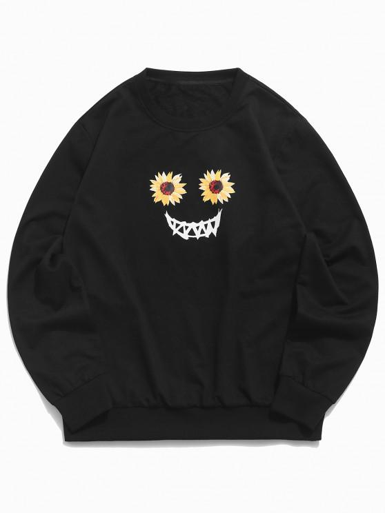 women's Halloween Scary Smile Sunflower Sweatshirt - BLACK 2XL
