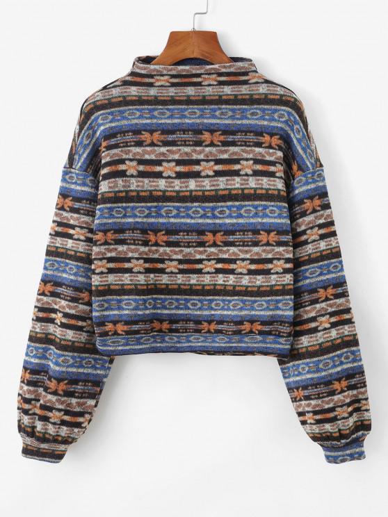 ZAFUL Tribal Print Tricot picătură umăr Sweatshirt - Multi-A S