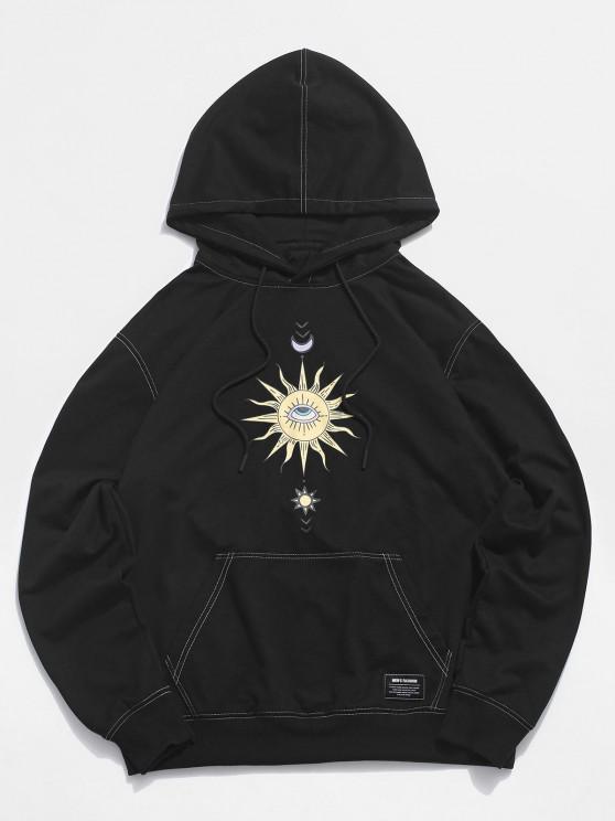 Moon And Sun Eye Stitching Hoodie - أسود 2XL