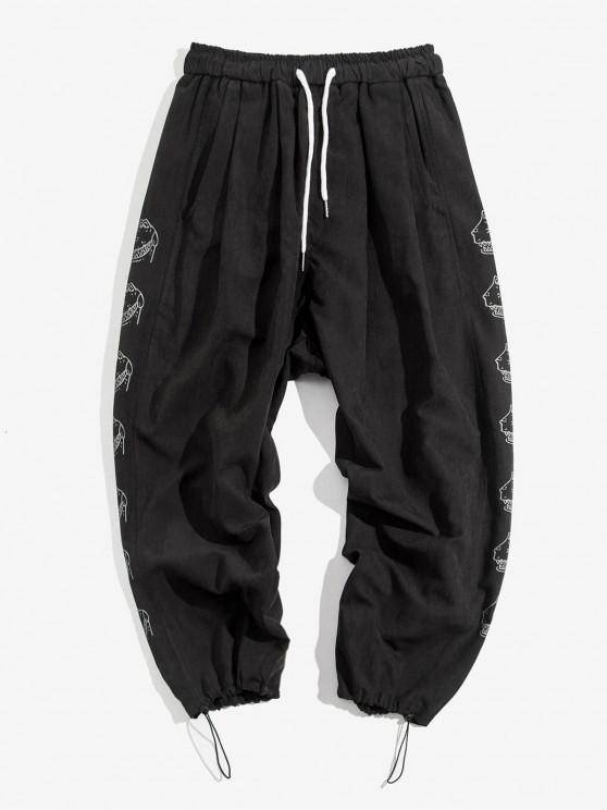 Cartoon Croc Pattern Elastic Waist Pants - أسود S