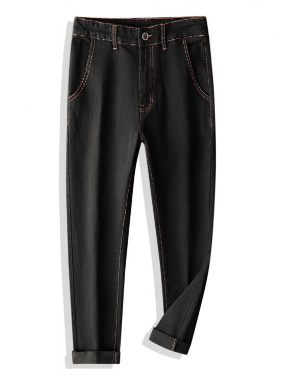 lady Colorblock Stitching Multi-pocket Applique Jeans - BLACK 32