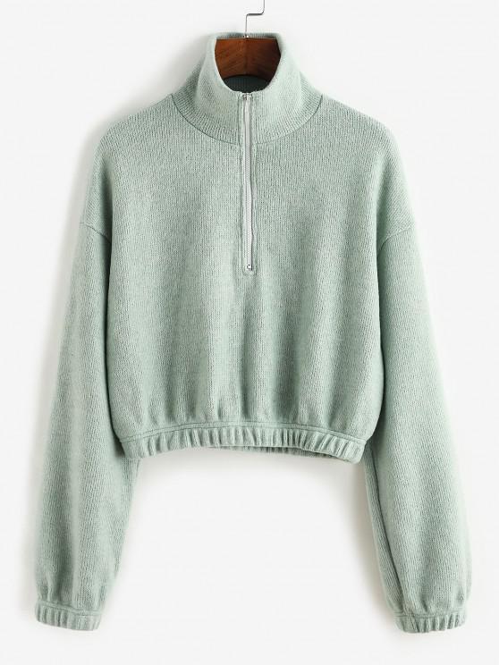 lady ZAFUL Half Zipper Crop Sweater - CYAN OPAQUE S