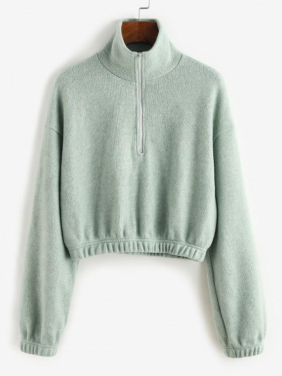 shops ZAFUL Half Zipper Crop Sweater - CYAN OPAQUE M