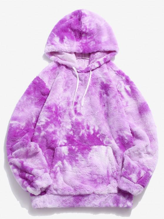 women Kangaroo Pocket Tie Dye Pattern Faux Fur Hoodie - PURPLE L