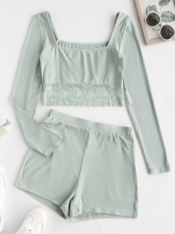 women's ZAFUL Ribbed Lace Insert Pajama Shorts Set - MINT GREEN M