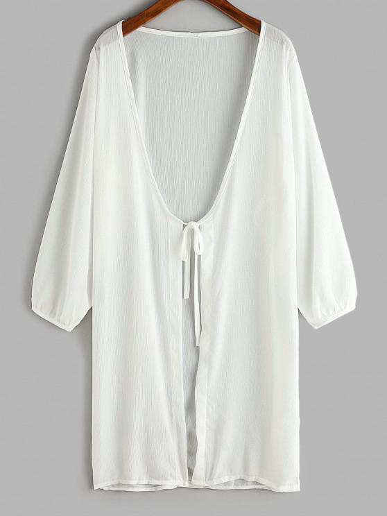 best Tie Front Longline Cover Up Top - WHITE ONE SIZE
