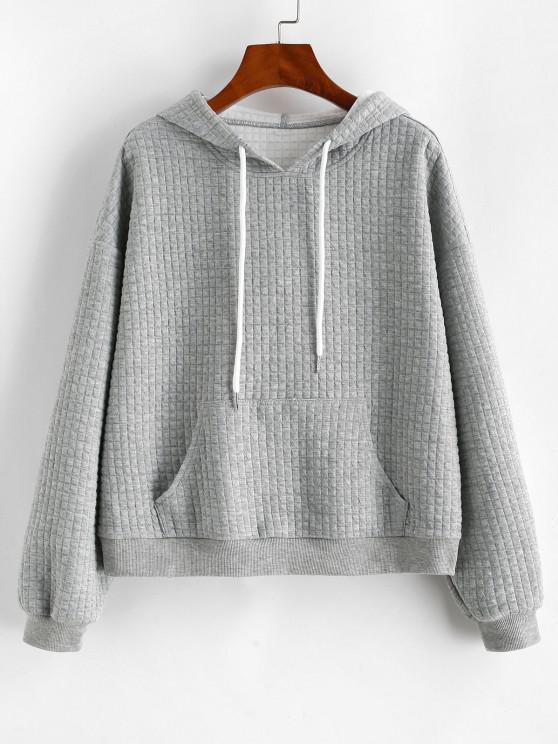 ZAFUL Drawstring Textured Kangaroo Pocket Hoodie - سحابة رمادية M