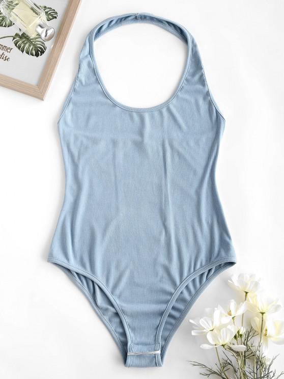 shops ZAFUL Ribbed Halter Backless Bodysuit - BLUE GRAY M