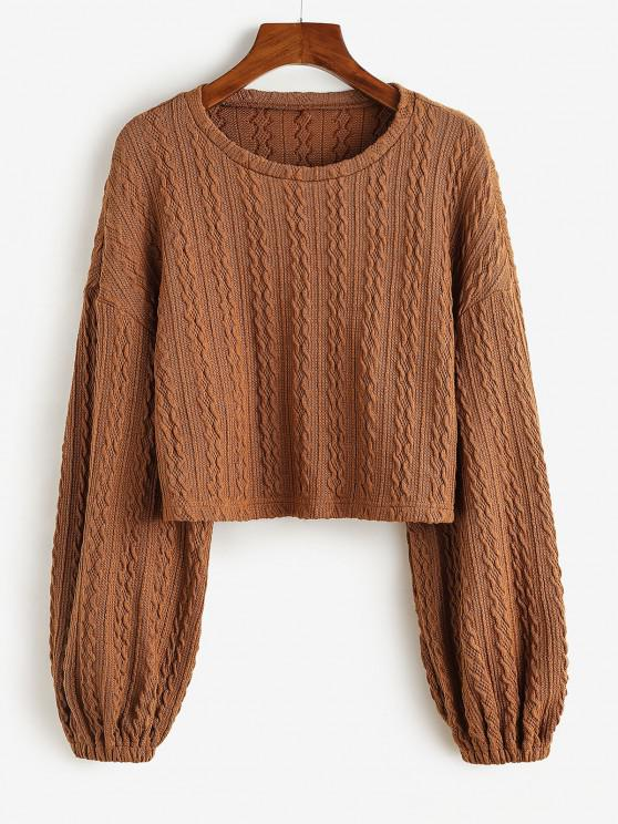 shop ZAFUL Cable Knit Crop Sweater - WOOD M