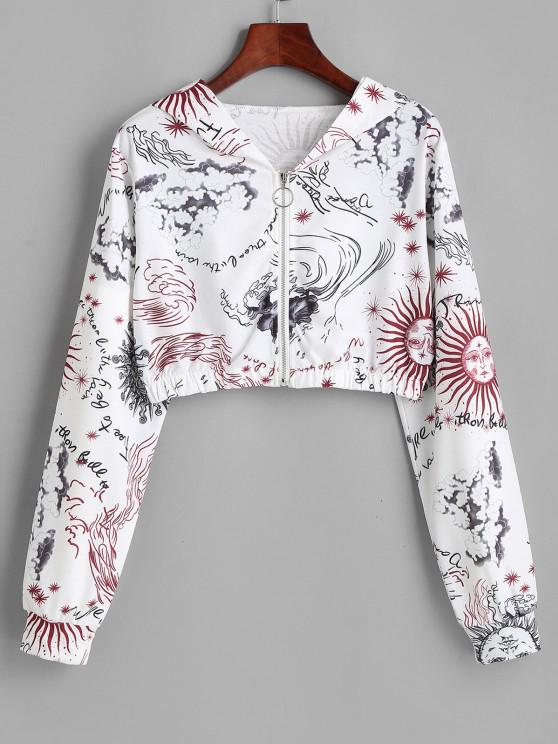 fancy Sun and Wind Print Hooded Zip Crop Jacket - WHITE S