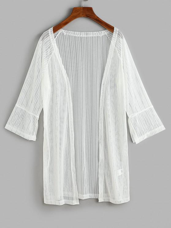 shop Slit Cuffs Raglan Sleeve Open Front Lace Cover Up Top - WHITE S