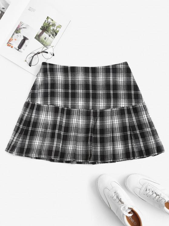 ZAFUL Plaid Pleated Flounce Hem Skirt - أسود XL