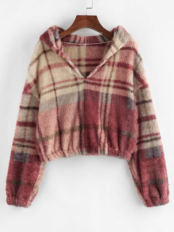 ZAFUL Fuzzy Checked Faux Fur Hoodie - متعددة-A S