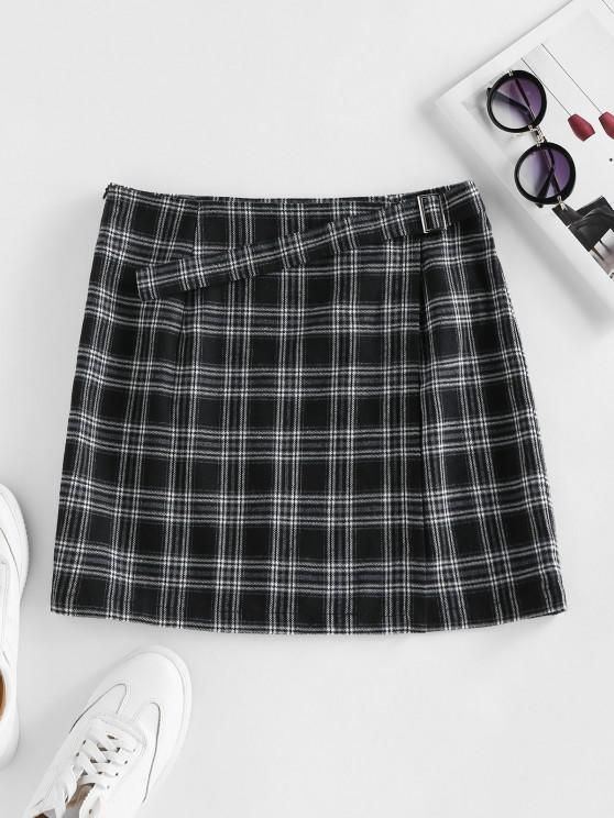 online ZAFUL Plaid Buckle Zip Mini Skirt - BLACK S