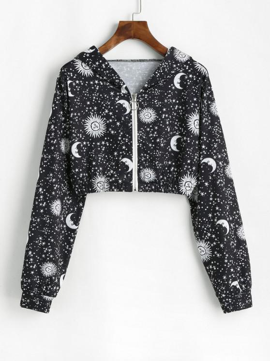 womens Moon Sun and Star Zip Hooded Crop Jacket - BLACK M