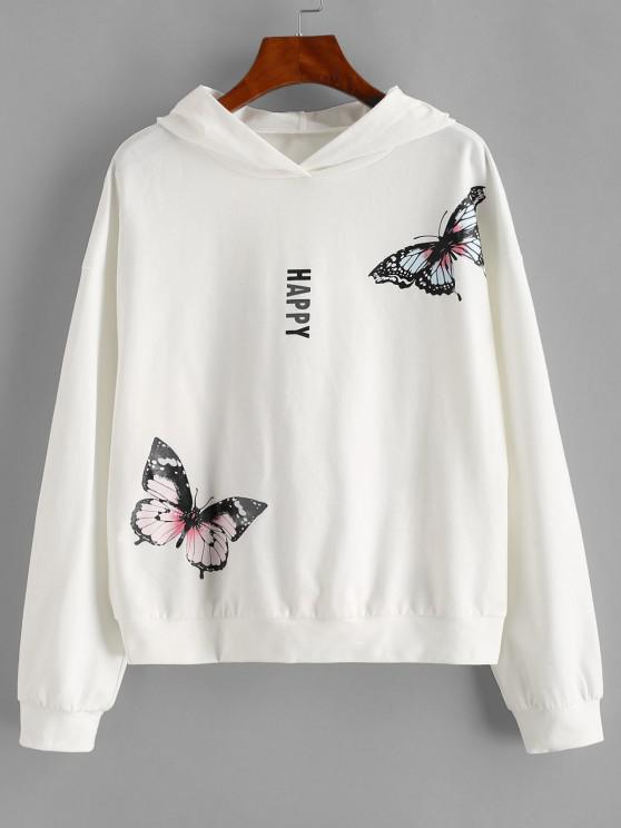 trendy ZAFUL Drop Shoulder Happy Butterfly Hoodie - WHITE S