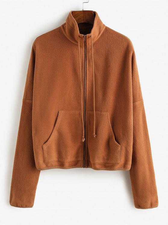 sale ZAFUL Pockets Drop Shoulder Fleece Coat - TIGER ORANGE L