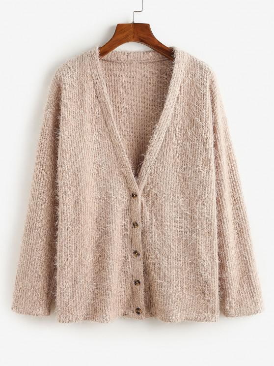 women ZAFUL Button Up Fluffy Eyelash Cardigan - KHAKI ROSE S