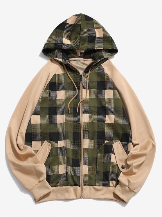 Plaid Print Raglan Sleeve Zip Up Hoodie - كاكي M